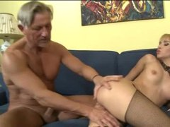 Old man fucks young blonde in the ass