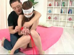 Bound and blindfolded Japanese girl played with