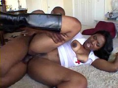 Black slut in nurse costume and boots boned