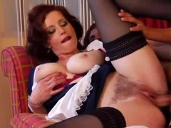 Redhead French maid with hairy box sucks and fucks
