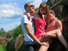charming double fuck outside with teen