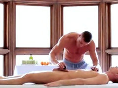 Sensual massage heats up with steamy blowjob
