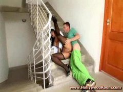 Fucking horny nurse in ass on stairs