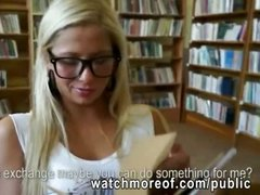 Cute bookworm chick anal in the library