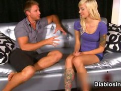 Sexy tattooed blonde rock chick showing part2