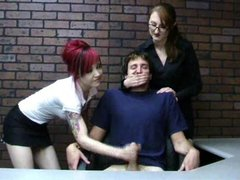 Miss Kendra teaches goth girl to give handjob