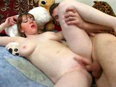 Young ugly Russian girl fucked in wet cunt