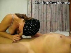 Horny Cheating Wife with covered face fucking her Lover