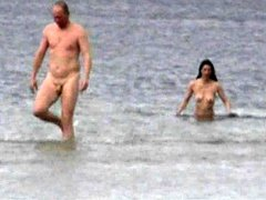 Slender naked chicks at the beach