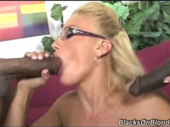 Hot Blonde Drinks Black Cum!
