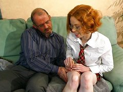 Young French redhead learns how to fuck