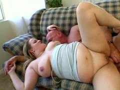 Chubby blonde blowjob and screw