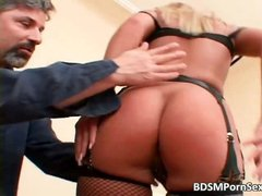 Blonde beauty in BDSM action gets her