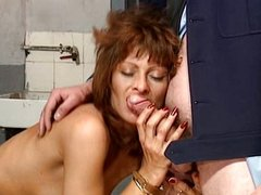 French Lady fucked by two guys in Prison