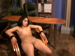 Domina clamping her slaves tits and pussy with wooden pegs