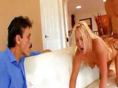 Cheating wife fucking next to husband