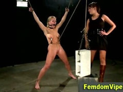 Lezdom bdsm bitch shocks victims pussy