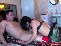 Nasty real dutch whore sucks on cock