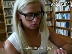 Blonde cutie paid to suck dick and anal rides in the library