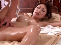 Japanese wife Reiko gets a nice oiled up massage and banged