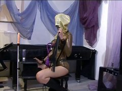 Hot slave chick touching herself