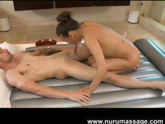 Arial Rose is a skinny chick who gives a guy a Japanese massage