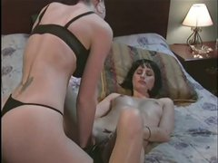 Brunette takes her girlfriends temperature and it's hot in these lesbian games with an enema