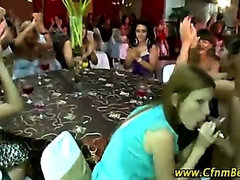 CFNM stripper sucked by CFNM fan babes at party