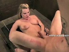 Cock spanked and whipped in femdom bondage fuck videoclip with kinky mistress enjoying her prey