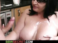Big brunette bitch with big saggy tits gets creamed and nailed in the kitchen