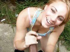 Amateur Teen Redhead Gives Handjob to Black Guy with Facial