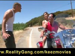 Brunette cheats with this biker dude and blows before getting drilled