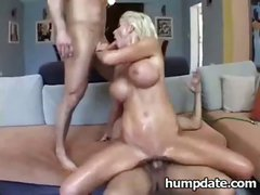 Busty blonde Puma Swede gets set free so she can blow and bang two