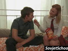 Shy Russian girl is studying with a student and gets kissed and touched