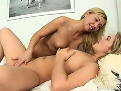 Gorgeous and golden haired lesbian babes