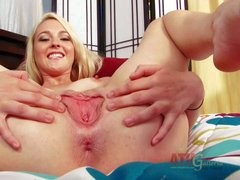 Blonde and handsome babe Ashley Stone enjoys in stripping and
