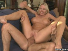 Delicious voluptuous blonde MILF Emma Starr was alone when her
