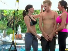 Ariella Ferrera and Kendra Lust are two sporty milfs with