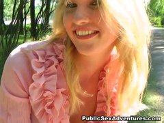 Banging a sweet blonde outdoors