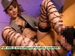 Stunning Chinese girl in stockings is gives a amazing blowjob