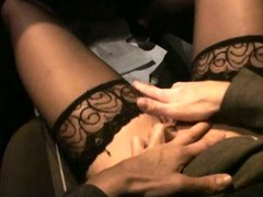 Horny german milf suck cock in the car