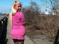 russian whore flashing tits and pussy in street