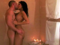 Passionate couple gets wild in the shower