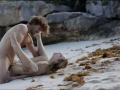 sleek art sex of horny couple on beach