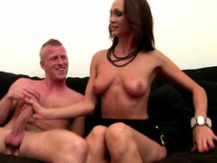 Female casting agent testing his cock with her feet