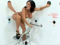 Claire Dames in gloryhole room blows