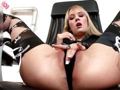 Sexy blonde babe gets horny rubbing her part4