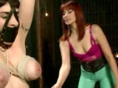 Tied up girl whipped then fucked