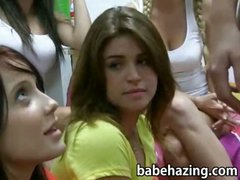 Horny newbie pledgers blowjob challenge to pass the hazing