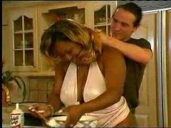 Fat black girl fucked in her kitchen